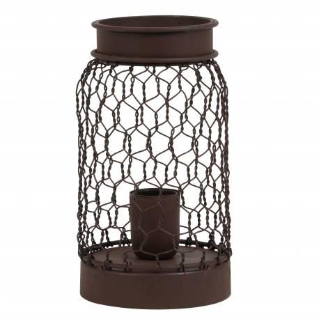 Luminaire Tendance Grillagé TUNAS Lampe d'Appoint à Poser de Table de Bureau 1 Ampoule en Métal Patiné Rouille 12,5x24cm