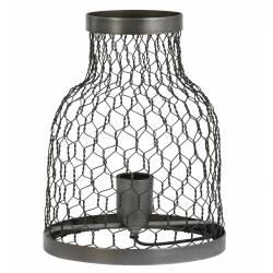Luminaire Tendance Grillagé TUNOS Lampe d'Appoint à Poser de Table de Bureau 1 Ampoule en Métal Patiné Etain 21x27cm