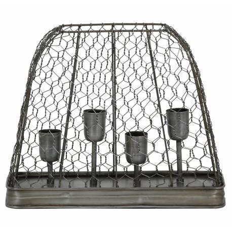 Luminaire Tendance Grillagé GAZE Lampe d'Appoint à Poser de Table de Bureau 4 Ampoules en Métal Patiné Etain 14x35x41cm