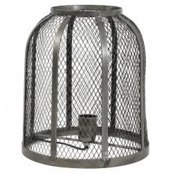 Luminaire GOEJA à Poser Lampe Tendance Cage Grillagée de Bureau de Salon Lampe d'Appoint Dôme en Métal Patiné Etain 28x32cm