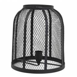 Luminaire GOEJA à Poser Lampe Tendance Cage Grillagée de Bureau de Salon Lampe d'Appoint Dôme en Métal Patiné Noir 28x32cm