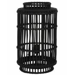 Lampe Ethnique Tendance à Poser KOMODO Luminaire d'Appoint Lanterne à Poser en Bois Couleur Noire 30x50cm
