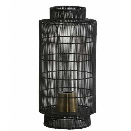 Lampe Ethnique GRUARO Tendance à Poser Luminaire d'Appoint Lanterne à Poser en MétalCouleur Noire et Bronze 24x52cm
