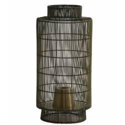 Lampe Ethnique GRUARO Tendance à Poser Luminaire d'Appoint Lanterne à Poser en Métal Couleur Bronze Antique 24x52cm