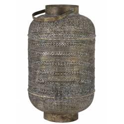 Lampe Cage UDUPI à Poser Luminaire d'Appoint Lanterne Tendance Ethnique à Poser en Métal Couleur marron et or 37,5x62cm