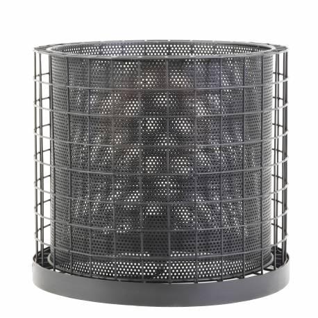 Luminaire Industriel CAJANA Lampe à Poser d'Appoint Tendance Salon ou Bureau en Métal de Couleur Grise Zinc 30x33cm