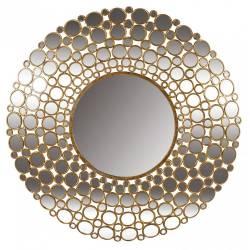 Superbe Miroir à Facettes Convexe de Chez Signature Multiples Glaces Forme Ronde Mural en Métal Doré 6x103x103cm