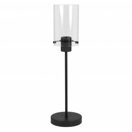 Lampe Loft d'Appoint à Poser VANCOUVER Luminaire Tendance de Table Tige Eclairage en Métal et verre Couleur Noire 15x55cm