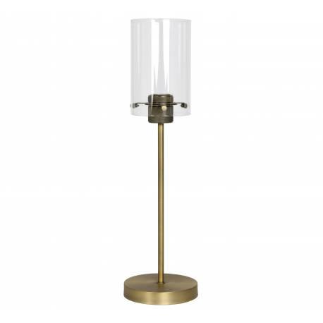 Lampe Loft d'Appoint à Poser VANCOUVER Luminaire Tendance de Table Tige Eclairage Métal et verre Patiné Bronze Antique 15x55cm