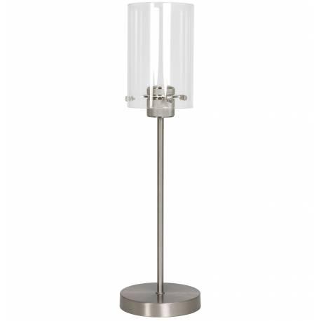 Lampe Loft d'Appoint à Poser VANCOUVER Luminaire Tendance de Table Tige Eclairage en Métal et verre Couleur argent 15x55cm