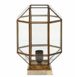 Luminaire de Table Géométrique SONDERSO Lampe d'Appoint Tendance de Salon en Métal Bois et Verre 22x22x32cm