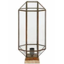 Luminaire de Table Géométrique SONDERSO Lampe d'Appoint Tendance de Salon en Métal Bois et Verre 22x22x52cm
