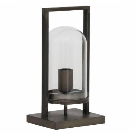 Lanterne Lampe de Table Tendance JURRE Eclairage Veilleuse à Poser Luminaire d'Appoint Métal Noir Antique et Verre 14x17x32,5cm