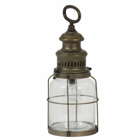 Lampe Electrique Vintage ROTI à Poser ou à Suspendre Eclairage d'appoint en Verre Tendance Mural en Métal Patiné Cuivre 12x32cm