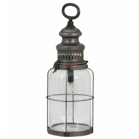 Lampe Electrique Vintage ROTI à Poser ou à Suspendre Eclairage d'appoint en Verre Tendance Mural en Métal Patiné Etain 12x35cm