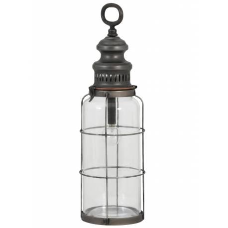 Lampe Electrique Vintage ROTI à Poser ou à Suspendre Eclairage d'appoint en Verre Tendance Mural en Métal Patiné Etain12x42,5cm
