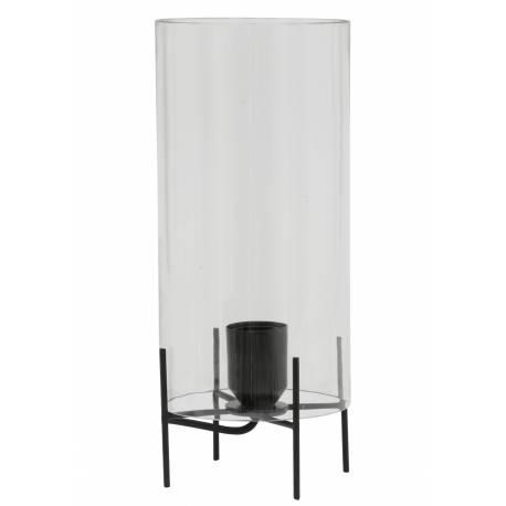 Lampe de Table Luminaire d'Appoint BURNABY Eclairage de Salon de Chevet en Métal Noir et Verre 15x36cm