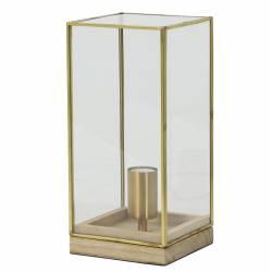 Eclairage ASKJER de Chevet à Poser Lampe de Table de Bureau d'Appoint Luminaire Veilleuse en Bois et Verre 15x15x30cm