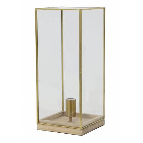 Eclairage ASKJER de Chevet à Poser Lampe de Table de Bureau d'Appoint Luminaire en Bois et Verre 20x20x45cm