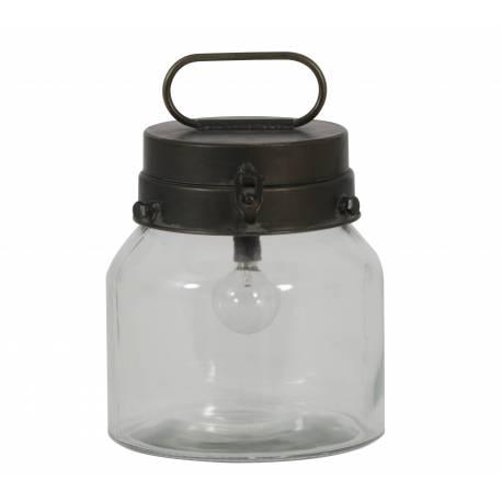 Lampe à Poser ou à Suspendre BOTO Lanterne Tendance Eclairage d'Appoint de Salon Luminaire en Verre et Métal 16x16,5cm