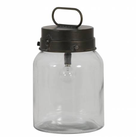 Lampe à Poser ou à Suspendre BOTO Lanterne Tendance Eclairage d'Appoint de Salon Luminaire en Verre et Métal 16x22cm