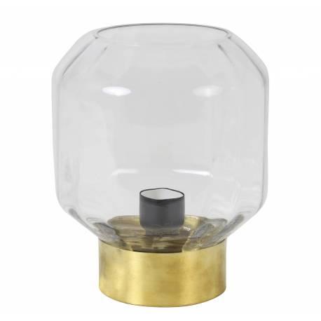 Luminaire OFIN Tendance Art Déco Lampe à Poser Eclairage Electrique de Salon de Chevet en Métal et Verre Teinté 18x19cm