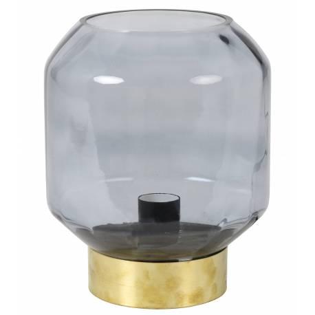 Luminaire OFIN Tendance Art Déco Lampe à Poser Eclairage Electrique de Salon de Chevet en Métal et Verre Teinté 24x22cm