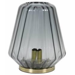 Luminaire d'Appoint Art Déco GUIDO Tendance Lampe à Poser Eclairage Electrique de Salon en Métal et Verre Teinté 25,5x29,5cm