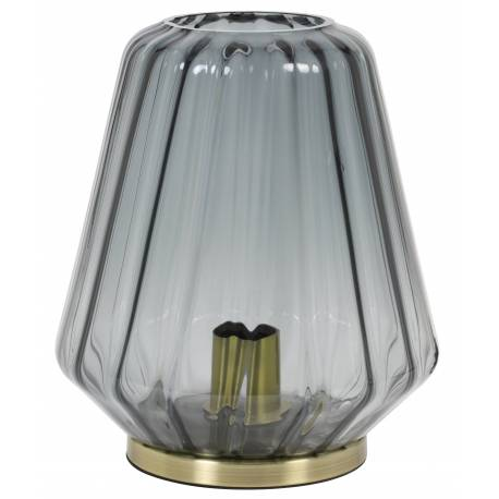Luminaire Art Déco GUIDO Tendance Lampe à Poser Eclairage Electrique de Salon en Métal et Verre Teinté 25,5x29,5cm