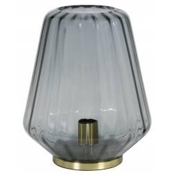 Luminaire Art Déco GUIDO Tendance Lampe à Poser Eclairage Electrique de Salon en Métal et Verre Teinté 29,5x35,5cm