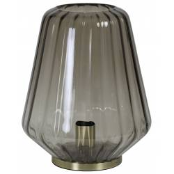 Luminaire d'Appoint Art Déco GUIDO Tendance Lampe à Poser Eclairage Electrique de Salon en Métal et Verre Teinté 29,5x35,5cm