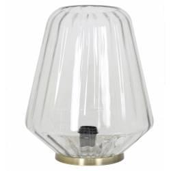 Luminaire d'Appoint Art Déco GUIDO Tendance Lampe à Poser Eclairage Electrique de Salon en Métal et Verre 29,5x40,5cm