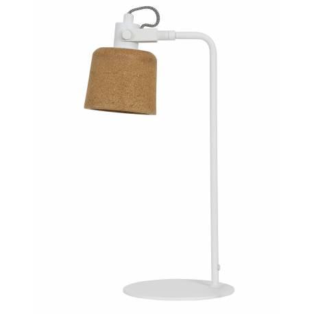 Lampe Electrique DANUTA de Bureau à Poser Luminaire de Table avec Abat Jour Articulé en Liège et Métal Couleur Blanc 30x50cm