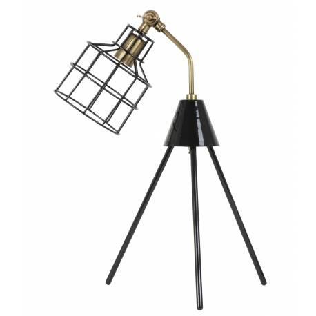 Eclairage à Poser sur Pieds MARAIS Lampe Articulée de Bureau de Salon en Métal Patiné Cuivre et Noir 26x31x55cm