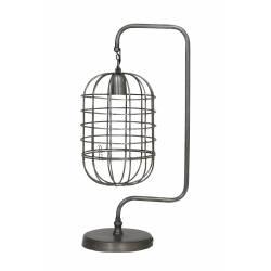 Lampe à Poser Cage Suspendue BRENDA Eclairage de Bureau de Table Tendance en Métal Patiné Etain 20x28x59cm