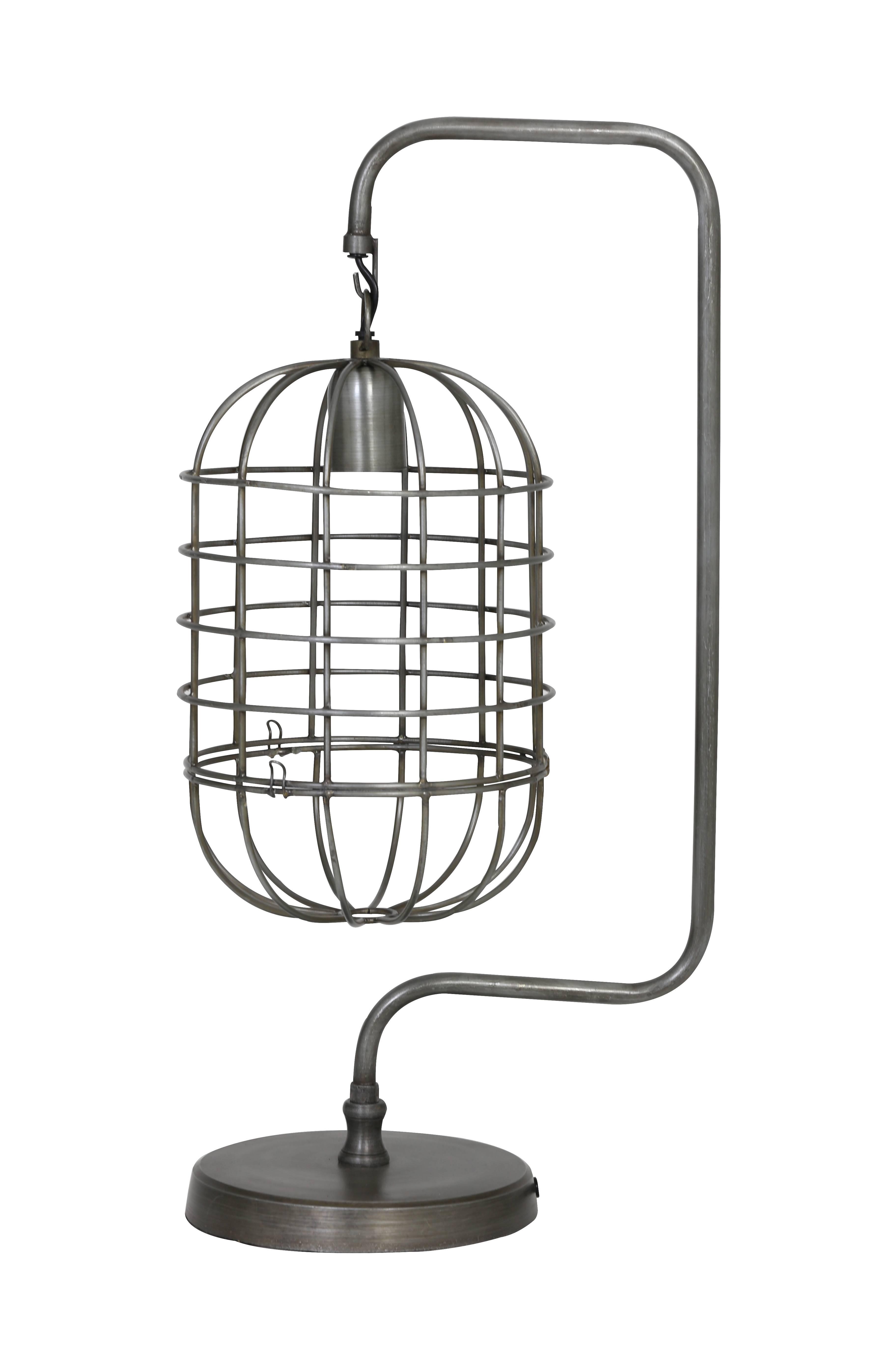 Tendance Poser Cage Eclairage 20x28x59cm Brenda Métal Bureau À Table Patiné De Etain Suspendue En Lampe J3clK1FT