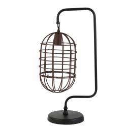 Lampe à Poser Cage Suspendue BRENDA Eclairage de Bureau de Table Tendance en Métal Patiné Noir et Rouille 20x28x59cm