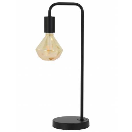Lampe de Chevet CODY Luminaire d'Ambiance à Poser sur Pied Veilleuse Classique de Table en Métal de Couleur Noire 15x20x50cm