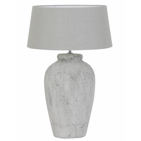 Lampe d'Appoint de Salon VESUVIUS Luminaire de Chevet avec Abat Jour en Céramiques Fines Couleur Grise Effet Béton 50x76cm