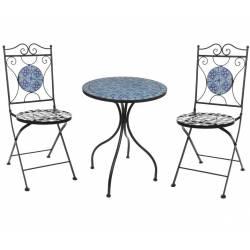 Salon de Jardin avec Sublime Mosaïque Antique Table de Bistrot et 2 Chaises  Pliantes en Acier Noir et Motifs en Céramique bleue Salon de Jardin avec ...