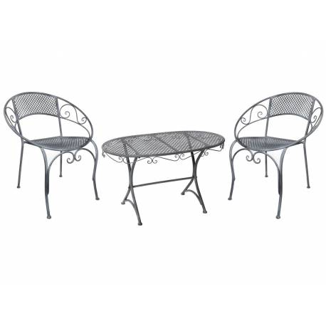 Salon de Jardin Bas Salon de Thé 2 Places Personnes Table Basse Ovale et 2 Chaises Fauteuils en Fer Patiné Blanc
