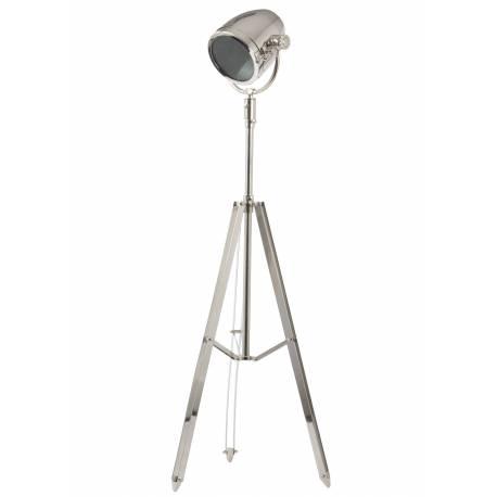 Projecteur GHANI Eclairage sur Trépied Lampe Articulée Elégante en Métal Patiné Façon Nickel 25x30x179cm