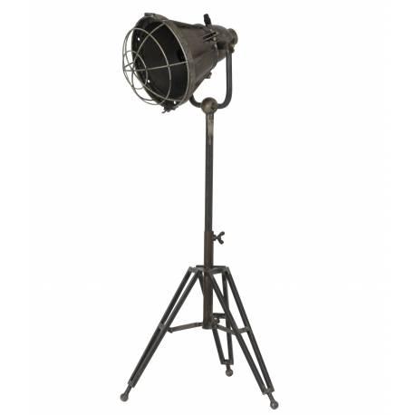 Lampadaire Studio DAMYAN sur Trépied Luminaire Design Projecteur Eclairage Cinéma en Métal Patiné Bronze 30x35x77cm