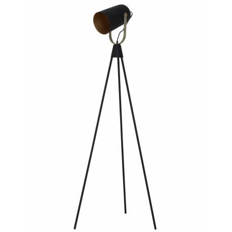 Projecteur GHANI Eclairage sur Trépied Lampe Articulée Elégante en Métal Patiné Noir et Or 58x184cm