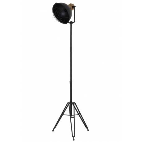 Lampadaire Studio YURI sur Trépied Luminaire Design Projecteur Eclairage Cinéma en Métal Patiné Noir Antique 54x45x200cm