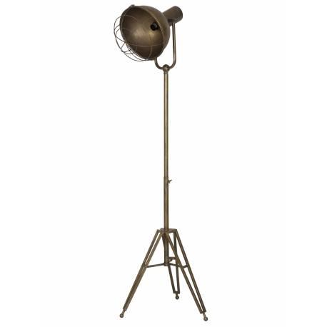 Lampadaire Studio KYAN sur Trépied Luminaire Design Projecteur Eclairage Cinéma en Métal Patiné Bronze 46x51x175cm