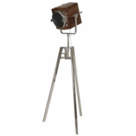 Eclairage d'Appoint GEORGE Projecteur de Poursuite Studio Lampadaire sur Trépied Industriel en Bois et Métal 42x72x200cm