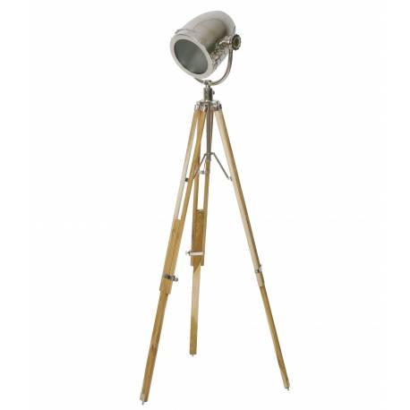 Lampe d'Appoint Industriel BOTHA Lampadaire Tendance Luminaire Ancien Phare de Voiture en Métal Patiné Argent 110x170cm