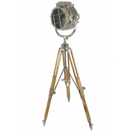Lampe Projecteur Industriel JOHN.F Lampadaire Tendance Luminaire Phare Bateau en Bois Teck Métal Patiné Nickel 100x110x190cm