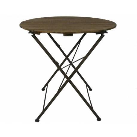 Table Ronde Desserte Pliable Console d'Appoint Intérieur Extérieur Guéridon en Bois et Fer 90x90x80cm